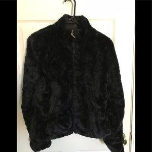 MUDD Black Faux Fur Jacket (Small)